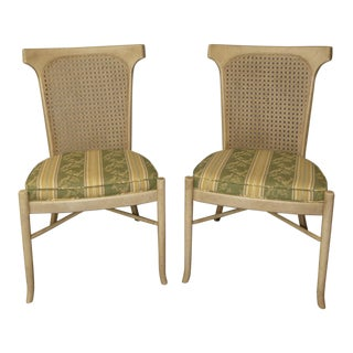 Vintage Caned Back Dining Side Chairs- a Pair For Sale