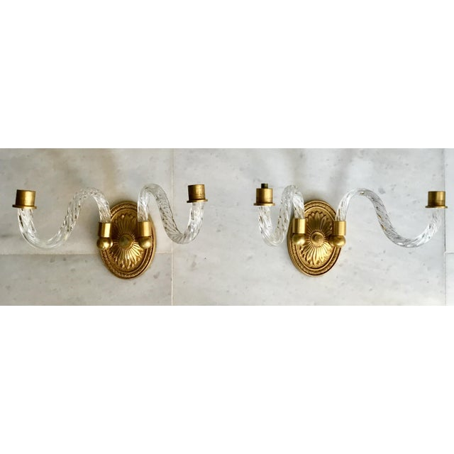 Metal A Pair of Hollywood Regency Fluted Glass Arm Sconces For Sale - Image 7 of 8