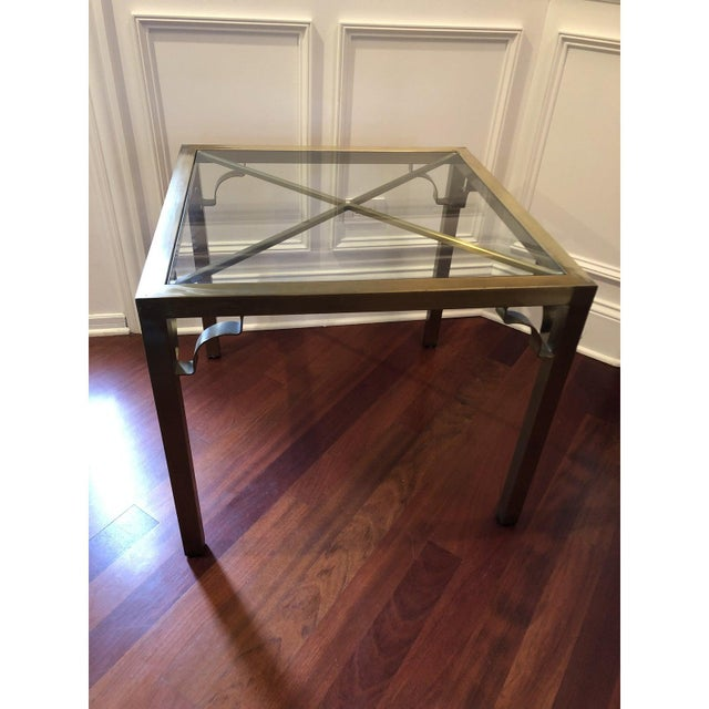 Late 20th Century Hollywood Regency Brass & Glass Accent Table For Sale - Image 5 of 9