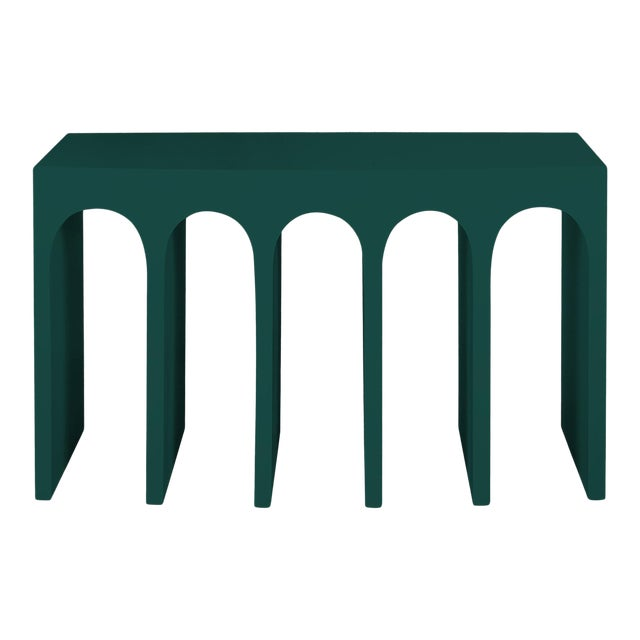 Minimalist Curved Front Console With Arches in Hedge Green by Martin and Brockett For Sale