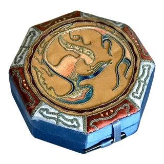 1970s Asian Octagonal Silk Box For Sale