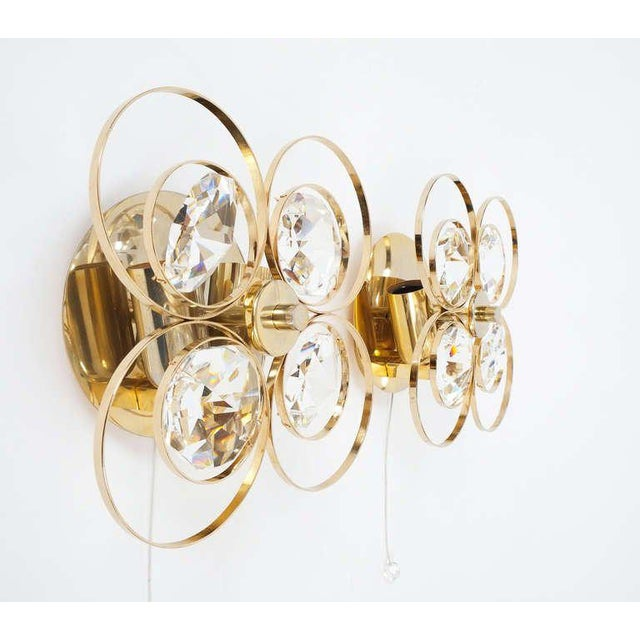 Bakalowits & Sohne Gilded Brass Crystal Glass Bakalowits Sconces, Austria 1960 For Sale - Image 4 of 9