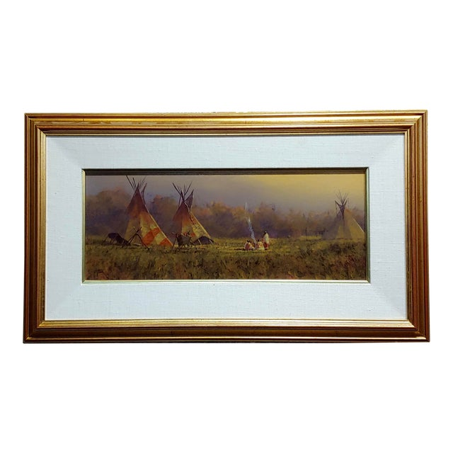 Mark Geller -Panoramic View of Teepees in an Indian Camp -Oil Painting For Sale