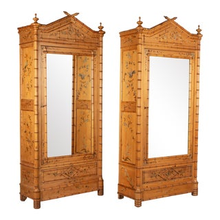 French Faux Bamboo Armoires - a Pair For Sale