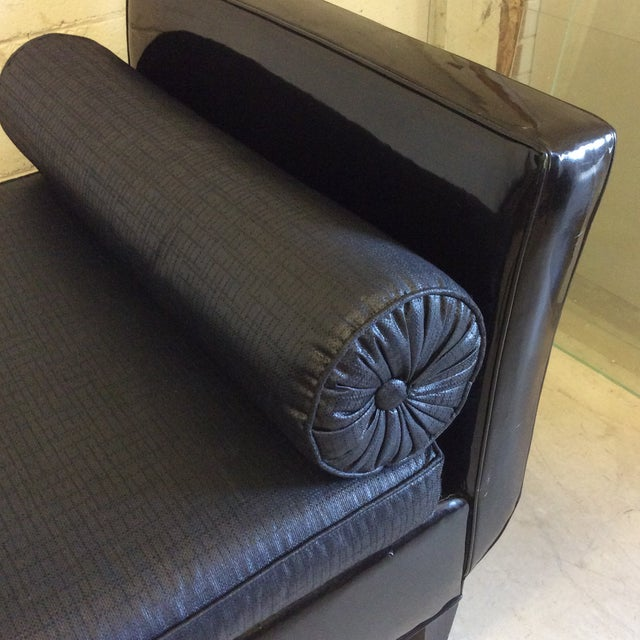 Black Patent Leather & Linen Chaise Lounge Bench For Sale - Image 4 of 11