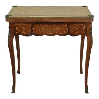 Vintage 1920s Highly Inlaid French Louis XV Games Table For Sale