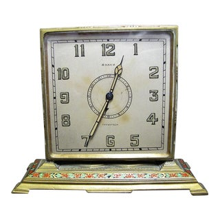 Tiffany & Co. Art Deco Brass Desk Clock With Hand Painted Roses For Sale