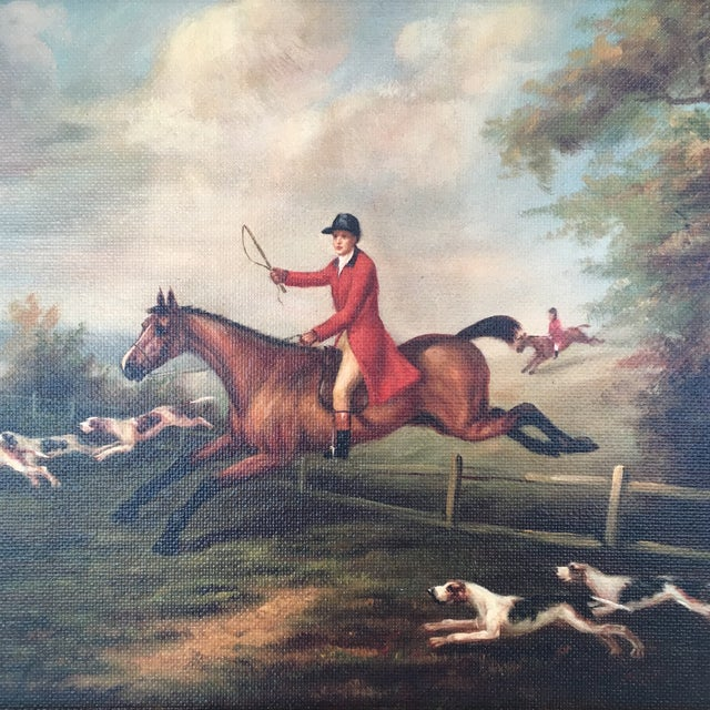 "An 8"" x 10"" reproduction on canvas fox hunting scene by J.N. Sartorious, C. 1810, mounted to a board and framed to an..."