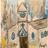 Image of Abstract Church Painting by Ebony Boyd For Sale