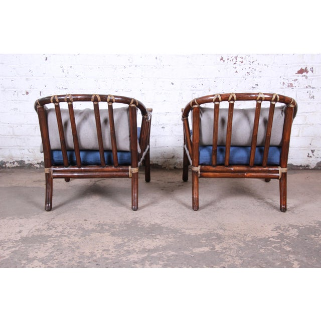 Lacquer McGuire Hollywood Regency Mid-Century Modern Bent Rattan Lounge Chairs - a Pair For Sale - Image 7 of 13