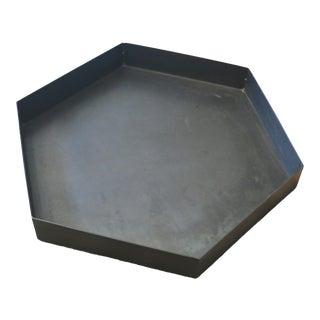 "30"" Hexagonal Black Magic Patina Metal Tray For Sale"