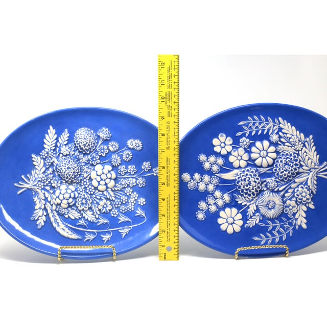 Vintage Blue and White Embossed Flowers Plates - Set of 2 For Sale - Image 9 of 10