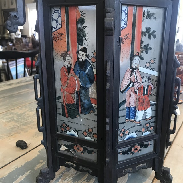 Late 19th Century Late 19th Century Antique Asian Six Painted Panel Lantern For Sale - Image 5 of 8
