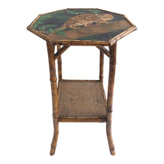 Antique English Bamboo Side Table W/ a Painted Cat Top