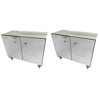 Pair of Decorative Mirrored Cabinets For Sale