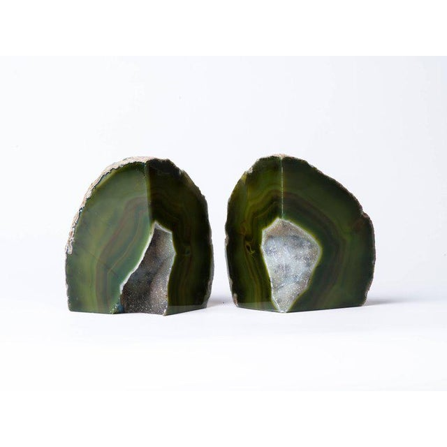 2010s Pair of Organic Modern Agate Stone and Crystal Bookends in Moss Green For Sale - Image 5 of 11