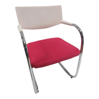 Vitra Visasoft Visavis 2 Chair White/Pink Fabric