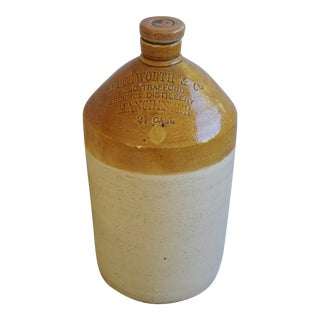 Antique Large English Duckworth Spirits Liqueur Stoneware Jug For Sale