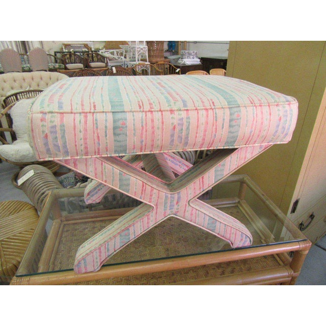 Late 20th Century Pastel Upholstered X Bench For Sale - Image 5 of 5