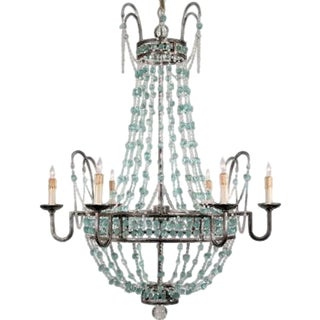 Arteriors Small Glass 6 Light Pewter Leaf Finish Versailles Collection Chandelier For Sale