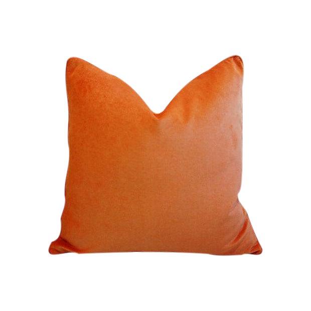 "Custom Tailored Tangerine Orange Velvet Feather/Down Pillows 24"" Square For Sale - Image 4 of 4"