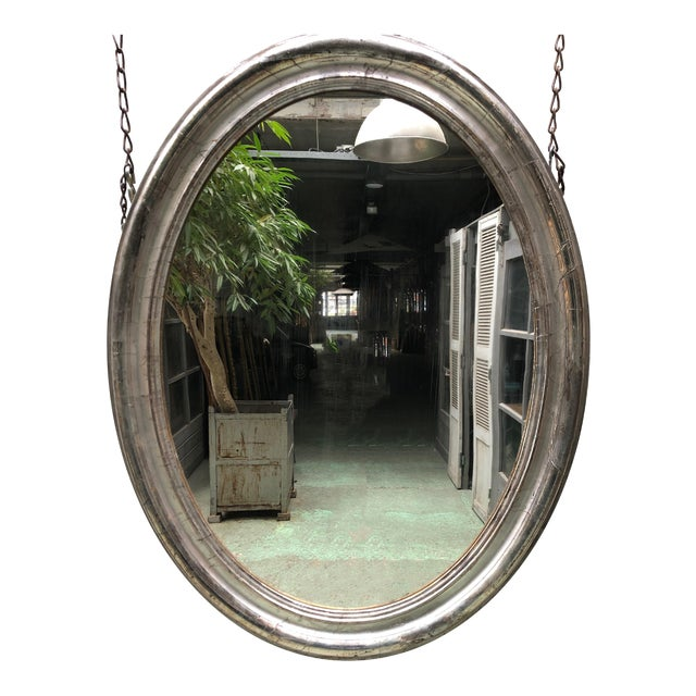 Rare 19th Century Ovale Silver Leaf Gilded Mirror For Sale