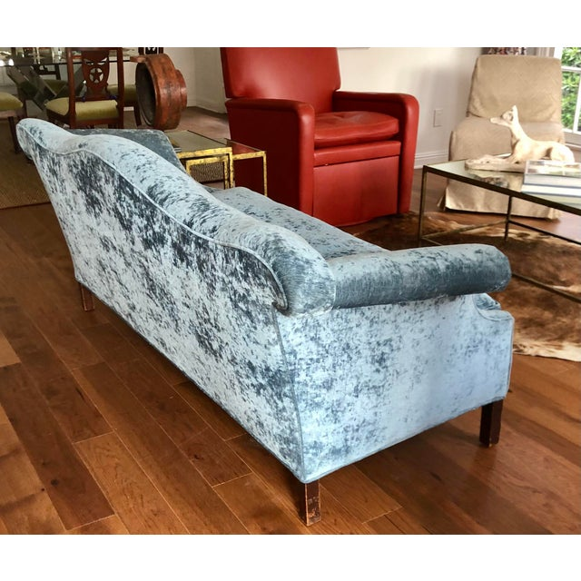 Early 20th Century Antique Chippendale Camelback Blue Silk Velvet Down Filled Sofa For Sale - Image 5 of 6