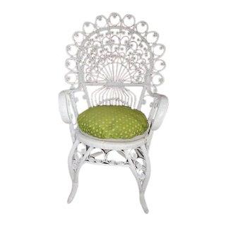 Victorian White Wicker Peacock Chair