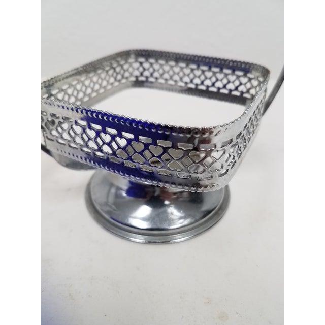 1900 - 1909 Antique English Cobalt Blue Silver Plate Condiment Server For Sale - Image 5 of 9