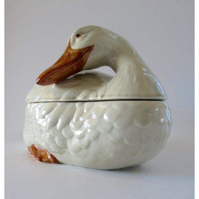 Figurative Vintage Fitz & Floyd Duck Ceramic Soup Tureen With Ladle For Sale - Image 3 of 13