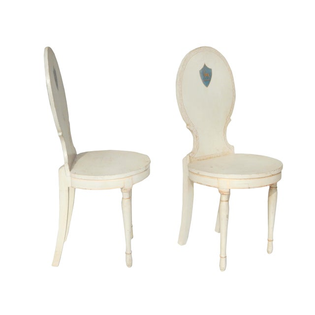 Unusual Pair of Swedish Gustavian Side Chairs - Image 3 of 10