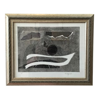 Black & White Abstract Monotype For Sale