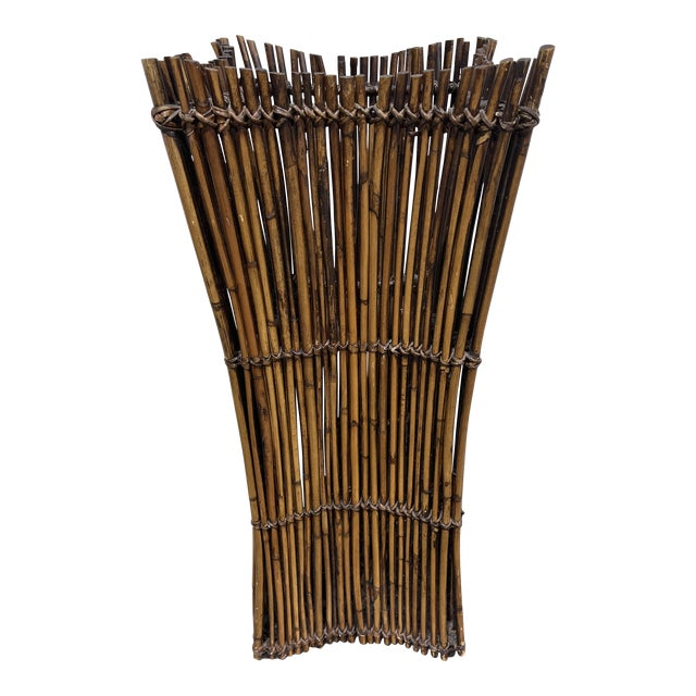 Vintage Bamboo Umbrella Stand Vase For Sale