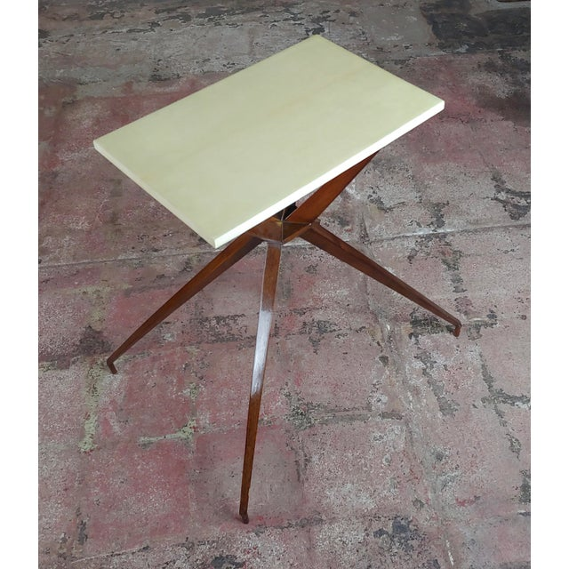 Mid Century Modern Geometric Side Table With Goatskin Top For Sale In Los Angeles - Image 6 of 10