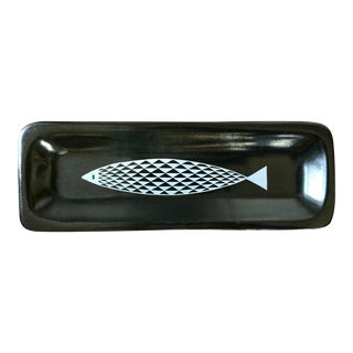 Mid Century Fred Press Glidden Pottery Black White Fish Tray For Sale