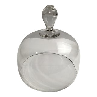 Antique French Hand Blown Glass Food Decorative Cloche Dome For Sale