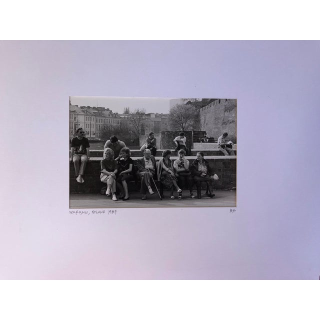Contemporary 1987 Vintage Black & White Photograph of the Street Scene in Warsaw, Poland For Sale - Image 3 of 3