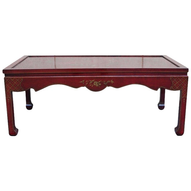 Chinoiserie Burgundy Red Coffee/Cocktail Table With Gilt Floral Design For Sale