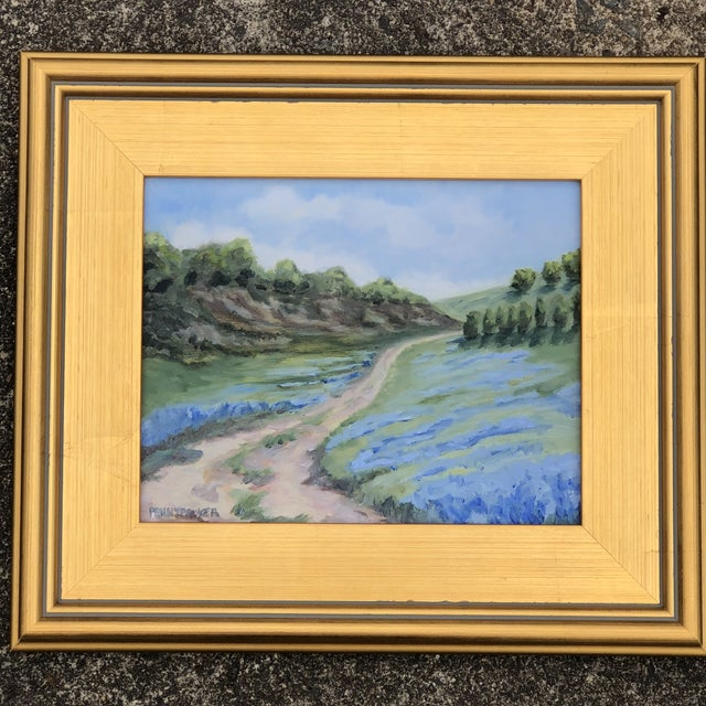 """Blue """"Lupine Roads"""" Small Oil Landscape Painting For Sale - Image 8 of 8"""