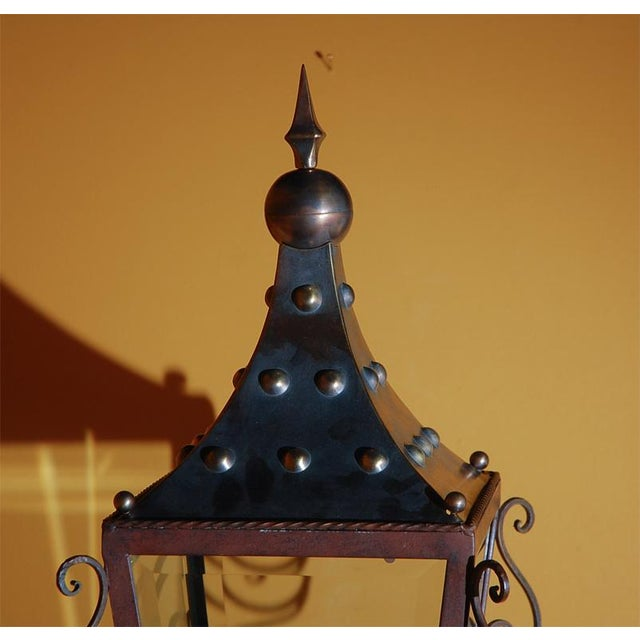 Gold Italian Brass Wall Lantern For Sale - Image 8 of 9