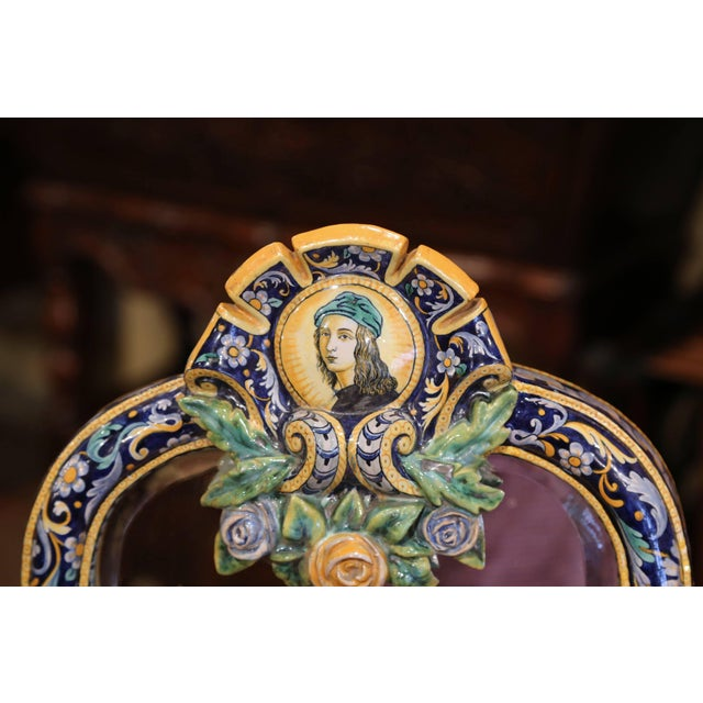 19th Century French Painted Ceramic Vanity Mirror With Joan of Arc Medallion For Sale In Dallas - Image 6 of 10