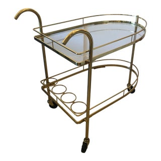 Mid-Century Modern Glamorous Brass Bar Cart For Sale