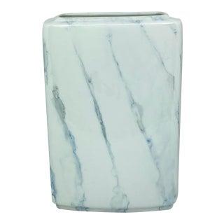 Villeroy & Boch Iridescent White and Blue Marbleized Rectangular Vase For Sale