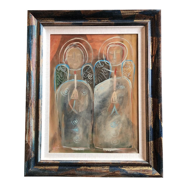 """Contemporary Folk Artist Rose Walton """"Angels of Light"""" Painting For Sale"""