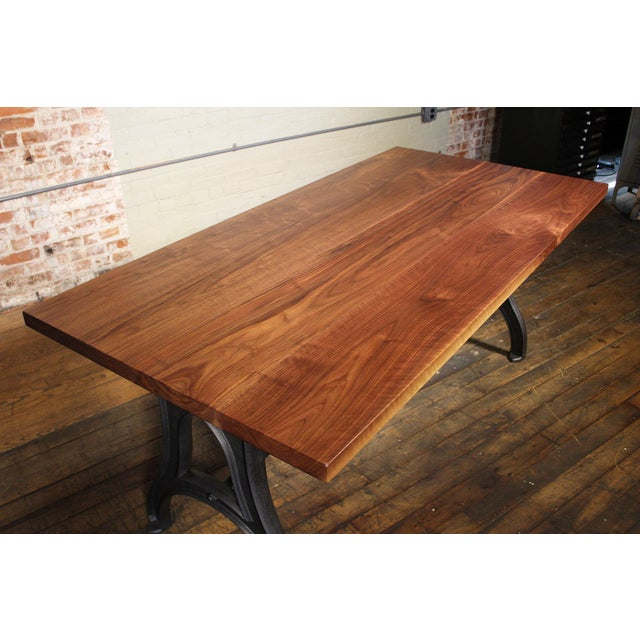 Industrial Industrial Desk – Walnut Top With Cast-Iron Legs For Sale - Image 3 of 13