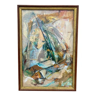 """1958 """"Race"""" Abstract Mixed-Media Painting by Ruth Erlich, Framed For Sale"""