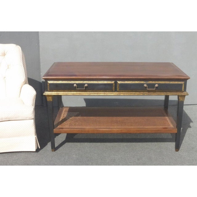 Hollywood Regency Black & Gold Crackle Finish Library Console Table For Sale - Image 11 of 11