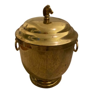 Vintage Brass Ice Bucket With Horse Head For Sale