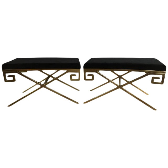"""Hollywood Regency Greek Key """"X"""" Benches - a Pair - Image 1 of 6"""