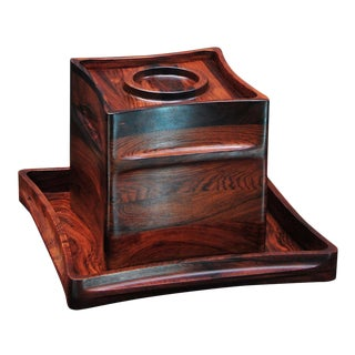 Jens Harald Quistgaard Brazilian Rosewood Ice Bucket & Matching Tray Drink Bar For Sale